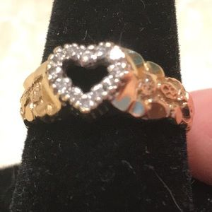 14K Gold Nugget Ring Authentic Diamond Cluster.